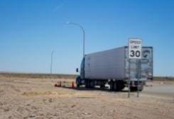 semi truck in the desert
